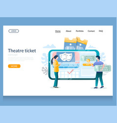 theatre ticket website landing page design vector image