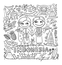 Travel to indonesia coloring card for your design vector