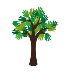 Tree green ecology hands vector