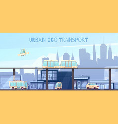 Urban eco transport cartoon vector