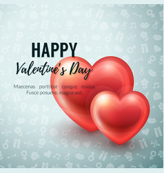 Valentines day background with glossy hearts vector
