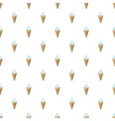 Vanilla ice cream in a waffle cone pattern vector