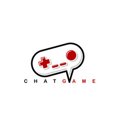 Video game chat joystick console theme logo vector