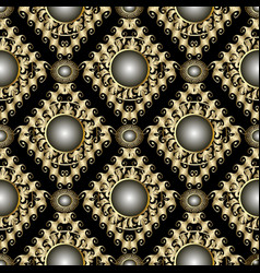vintage jewelry gold ornate 3d seamless pattern vector image