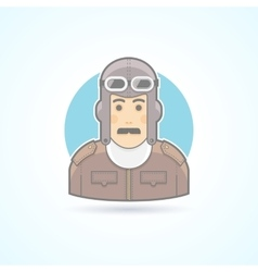 Vintage pilot man airman outfit example icon vector image