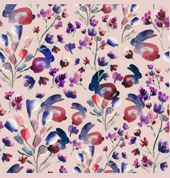 Watercolor bunny and florals seamless pattern vector