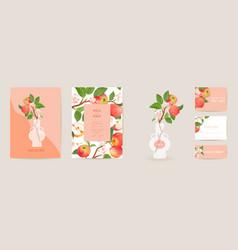 wedding invitation apple card vintage vector image