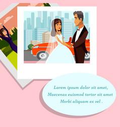 Wedding memories photo album vector