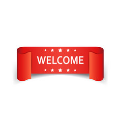 Welcome ribbon icon hello sticker label on white vector