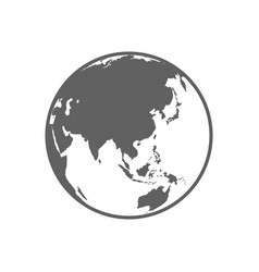 White and gray flat globe symbol vector