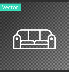 White line sofa icon isolated on transparent vector