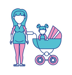 Woman pregnant and her baby girl vector