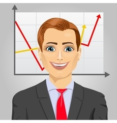 Young business man with rising arrow vector