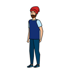 young man with ski mask avatar character vector image