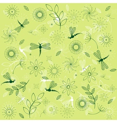 dragonflies and flowers vector image vector image