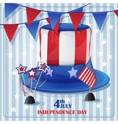 Independence Day on July 4 with flags and caps vector image
