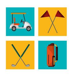 set golf equipment design vector image