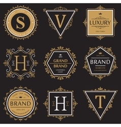 Set of ornate brand or product banner and logo vector image