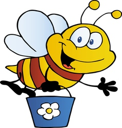 bee waving and flying with a bucket vector image vector image