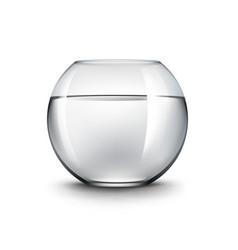 Black transparent shiny glass fishbowl aquarium vector