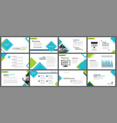 blue and green element for slide infographic on vector image