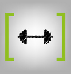 dumbbell weights sign black scribble icon vector image vector image