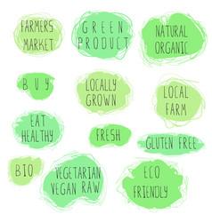 eco food emblem set vector image