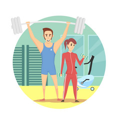 muscular man and healthy sexy woman wearing sport vector image vector image
