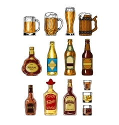 Set of bottles and stemware with alcohol vector image