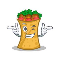 wink kebab wrap character cartoon vector image vector image