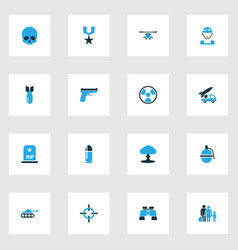 combat colorful icons set collection of gun vector image