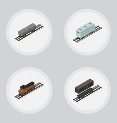 Isometric railway set of railroad carriage train vector