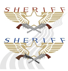 Sheriff badge and gun vector image
