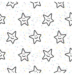 stars smileys black and white seamless vector image