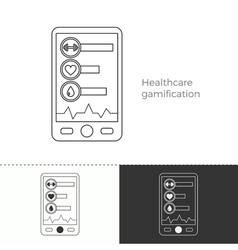 Thin line concept icon of healthcare gamification vector image vector image
