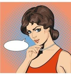 thinking woman in retro pop vector image vector image