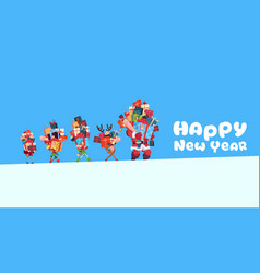 happy new year card with elves reindeer and santa vector image