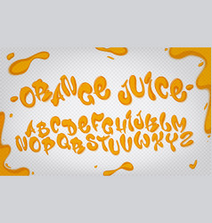 orange juice hand drawn typeset water alphabet vector image vector image