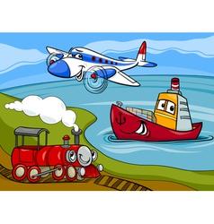 plane ship train cartoon vector image