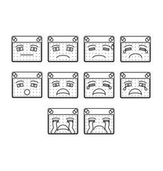 sad emoticon set vector image