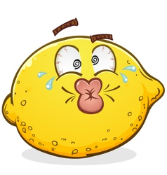 Sour Pucker Face Lemon Cartoon Character vector image vector image