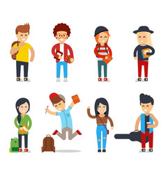 young students cartoon characters happy people vector image