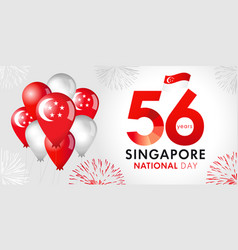 56 years anniversary singapore national day vector