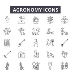 agronomy line icons editable stroke signs vector image