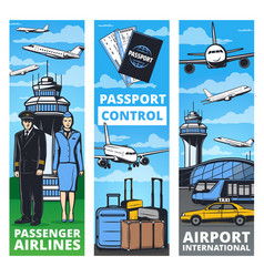air transportation service banners with plane crew vector image