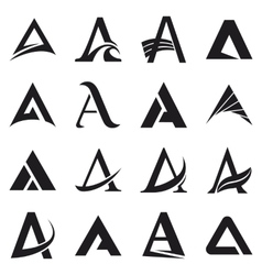 Alphabet symbols and elements of A letter vector image
