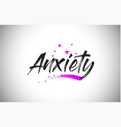 Anxiety handwritten word font with vibrant violet vector