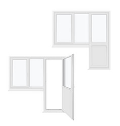 balcony door closed open and window realistic vector image