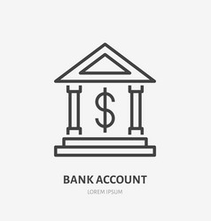 bank dollar account flat line icon finance vector image