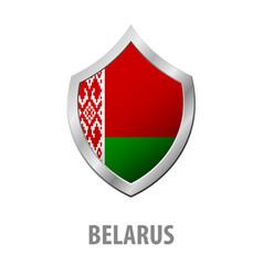 Belarus flag on metal shiny shield vector